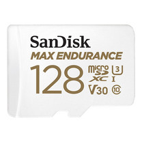 SanDisk MAX ENDURANCE microSDXC™ Card, SQQVR, (60,000 Hrs), UHS-I, C10, U3, V30, 100MB/s R, 40MB/s W, SD adaptor, 10Y - 128GB