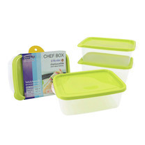 Super Lock กล่องถนอมอาหาร Chef Box ทรงสี่เหลี่ยมผืนผ้า แพ็ค 3 x 2 (12 ชิ้น 6 กล่อง) รุ่น 6073 - สีเขียว