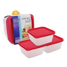 Super Lock กล่องถนอมอาหาร Chef Box ทรงสี่เหลี่ยม แพ็ค 3 (6 ชิ้น 3 กล่อง) รุ่น 6052 - สีชมพู