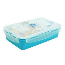 Super Lock กล่องอาหารกลางวันล็อก 2 ชั้น พร้อมช้อนส้อม รุ่น 6189 - สีฟ้า