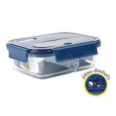 Super Lock Glass กล่องถนอมอาหารแก้ว 2 ช่อง พร้อมช้อนส้อม รุ่น 6092 - สีน้ำเงิน