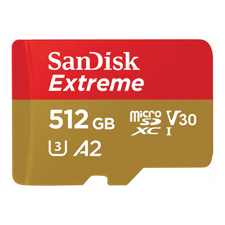 SanDisk Extreme microSDXC, SQXA1, V30, U3, C10, A2, UHS-I, 160MB/s R, 90MB/s W, 4x6, Lifetime Limited - 512GB
