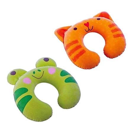 แพ็คคู่ หมอนรองคอเป่าลมลายสัตว์ - สีเขียวและสีส้ม