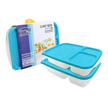 Super Lock กล่องถนอมอาหาร Chef Box ช่องแบ่ง 3 ช่อง รุ่น 6074 แพ็ค 2 (4 ชิ้น 2 กล่อง) - สีฟ้า