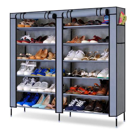 ตู้รองเท้า 2 ล็อค 6 ชั้น พร้อมผ้าคลุม - สีเทา