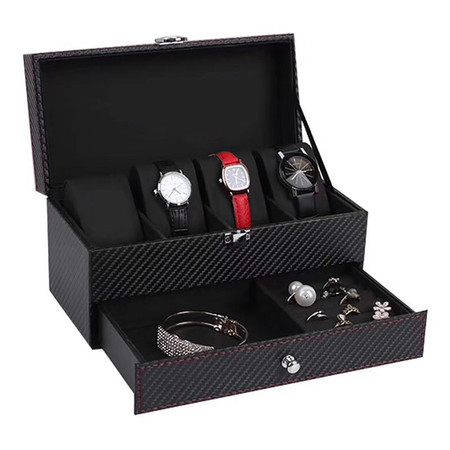 กล่องใส่นาฬิกาและเครื่องประดับ ขนาดเล็ก 2 ชั้น
