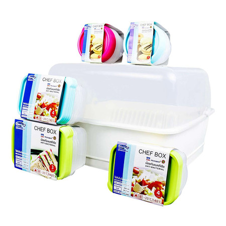Super Lock กล่องถนอมอาหาร Chef Box เซท 44 ชิ้น (รวมฝา) รุ่น 5577-S44 คละสี + Micronware ที่คว่ำจานพร้อมฝาปิด