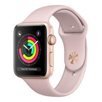 Apple Watch Series 3 (รุ่น GPS) - ตัวเรือนอะลูมิเนียม สีทอง พร้อมสายแบบ Sport Band สีชมพูพิงค์แซนด์ 42 มม.