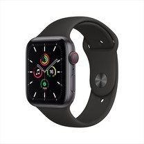 Apple Watch SE GPS+Cellular 44mm Space Gray Aluminum Case with Sport Band - Black