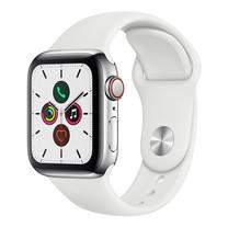 Apple Watch ซีรีย์ 5 รุ่น GPS + Cellular ตัวเรือนสแตนเลสสตีล พร้อมสายแบบ Sport Band สีขาว ไซส์ 40 มม.
