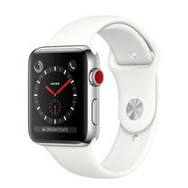 Apple Watch Series 3 (รุ่น GPS + Cellular) ตัวเรือนสแตนเลสสตีล พร้อมสายแบบ Sport Band สีขาวครีม 38 มม.