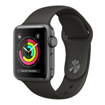 Apple Watch Series 3 (รุ่น GPS) - ตัวเรือนอะลูมิเนียม สีเทาสเปซเกรย์ พร้อมสายแบบ Sport Band สีเทา 38 มม.