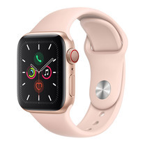Apple Watch ซีรีย์ 5 รุ่น GPS + Cellular ตัวเรือนอะลูมิเนียม สีทอง พร้อมสายแบบ Sport Band สีชมพูพิงค์แซนด์ ไซส์ 40 มม.