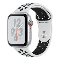 Apple Watch Nike+ Series 4 GPS + Cellular, 44mm Silver Aluminium Case with Pure Platinum/Black Nike Sport Band