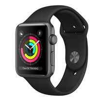 Apple Watch Series 3 (รุ่น GPS) - ตัวเรือนอะลูมิเนียม สีเทาสเปซเกรย์ พร้อมสายแบบ Sport Band สีดำ 42 มม.