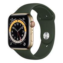 Apple Watch Series 6 GPS+Cellular 44mm Gold Stainless Steel Case with Sport Band - Cyprus Green