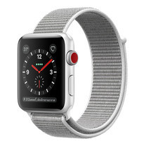 Apple Watch Series 3 (รุ่น GPS + Cellular) ตัวเรือนอะลูมิเนียม สีเงิน พร้อมสายแบบ Sport Loop สีขาวเปลือกหอย 42 มม.
