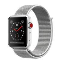 Apple Watch Series 3 (รุ่น GPS + Cellular) ตัวเรือนอะลูมิเนียม สีเงิน พร้อมสายแบบ Sport Loop สีขาวเปลือกหอย 38 มม.