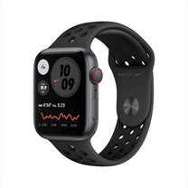 Apple Watch SE GPS+Cellular 44mm Space Gray Aluminum Case with Nike Sport Band - Anthracite/Black