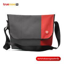 กระเป๋าสะพายข้างใบใหญ่ - สีเทา/แดง
