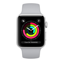Apple Watch Series 3 (รุ่น GPS) - ตัวเรือนอะลูมิเนียม สีเงิน พร้อมสายแบบ Sport Band สีเทาหมอก 38 มม.