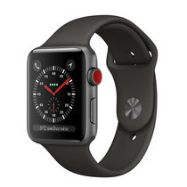 Apple Watch Series 3 (รุ่น GPS + Cellular) ตัวเรือนอะลูมิเนียม สีเทาสเปซเกรย์ พร้อมสายแบบ Sport Band สีดำ 38 มม.