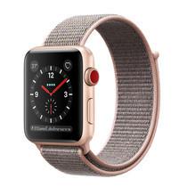 Apple Watch Series 3 (รุ่น GPS + Cellular) ตัวเรือนอะลูมิเนียม สีทอง พร้อมสายแบบ Sport Loop สีชมพูพิงค์แซนด์ 38 มม.