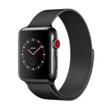 Apple Watch Series 3 (รุ่น GPS + Cellular) ตัวเรือนสแตนเลสสตีล สีดำสเปซแบล็ค พร้อมสายแบบ Milanese Loop สีดำสเปซแบล็ค 38 มม.