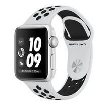 Apple Watch Nike+ (รุ่น GPS) ตัวเรือนอะลูมิเนียม สีเงิน พร้อมสาย Nike Sport Band สี Pure Platinum/Black 38 มม.