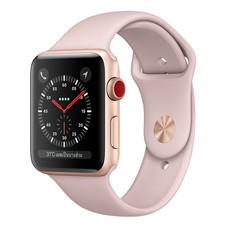 Apple Watch Series 3 (รุ่น GPS + Cellular) ตัวเรือนอะลูมิเนียม สีทอง พร้อมสายแบบ Sport Band สีชมพูพิงค์แซนด์ 42 มม.
