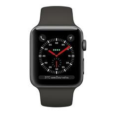 Apple Watch Series 3 (รุ่น GPS + Cellular) ตัวเรือนอะลูมิเนียม สีเทาสเปซเกรย์ พร้อมสายแบบ Sport Band สีเทา 42 มม.