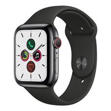 Apple Watch ซีรีย์ 5 รุ่น GPS + Cellular ตัวเรือนสแตนเลสสตีล พร้อมสายแบบ Sport Band สีดำ ไซส์ 44 มม.