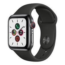 Apple Watch ซีรีย์ 5 รุ่น GPS + Cellular ตัวเรือนสแตนเลสสตีล พร้อมสายแบบ Sport Band สีดำ ไซส์ 40 มม.