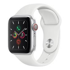 Apple Watch ซีรีย์ 5 รุ่น GPS + Cellular ตัวเรือนอะลูมิเนียม สีเงิน พร้อมสายแบบ Sport Band สีขาว ไซส์ 40 มม.