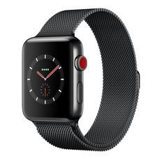 Apple Watch Series 3 (รุ่น GPS + Cellular) ตัวเรือนสแตนเลสสตีล สีดำสเปซแบล็ค พร้อมสายแบบ Milanese Loop สีดำสเปซแบล็ค 42 มม.