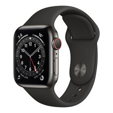 Apple Watch Series 6 GPS+Cellular 40mm Graphite Stainless Steel Case with Sport Band - Black