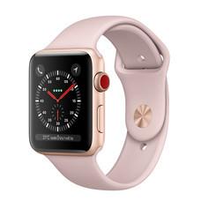 Apple Watch Series 3 (รุ่น GPS + Cellular) ตัวเรือนอะลูมิเนียม สีทอง พร้อมสายแบบ Sport Band สีชมพูพิงค์แซนด์ 38 มม.