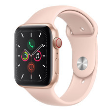 Apple Watch ซีรีย์ 5 รุ่น GPS + Cellular ตัวเรือนอะลูมิเนียม สีทอง พร้อมสายแบบ Sport Band สีชมพูพิงค์แซนด์ ไซส์ 44 มม.