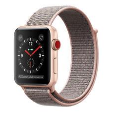 Apple Watch Series 3 (รุ่น GPS + Cellular) ตัวเรือนอะลูมิเนียม สีทอง พร้อมสายแบบ Sport Loop สีชมพูพิงค์แซนด์ 42 มม.