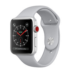 Apple Watch Series 3 (รุ่น GPS + Cellular) ตัวเรือนอะลูมิเนียม สีเงิน พร้อมสายแบบ Sport Band สีเทาหมอก 38 มม.