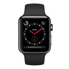 Apple Watch Series 3 (รุ่น GPS + Cellular) ตัวเรือนสแตนเลสสตีล สีดำสเปซแบล็ค พร้อมสายแบบ Sport Band สีดำ 42 มม.