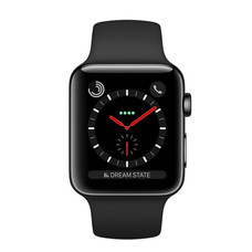 Apple Watch Series 3 (รุ่น GPS + Cellular) ตัวเรือนสแตนเลสสตีล สีดำสเปซแบล็ค พร้อมสายแบบ Sport Band สีดำ 38 มม.