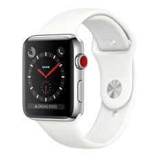 Apple Watch Series 3 (รุ่น GPS + Cellular) ตัวเรือนสแตนเลสสตีล พร้อมสายแบบ Sport Band สีขาวครีม 42 มม.