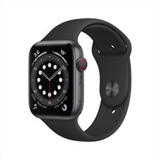 Apple Watch Series 6 GPS+Cellular 44mm Space Gray Aluminum Case with Sport Band - Black