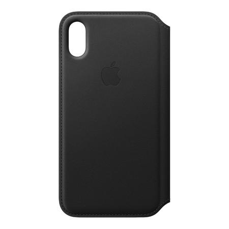 Leather Folio for iPhone X - สีดำ