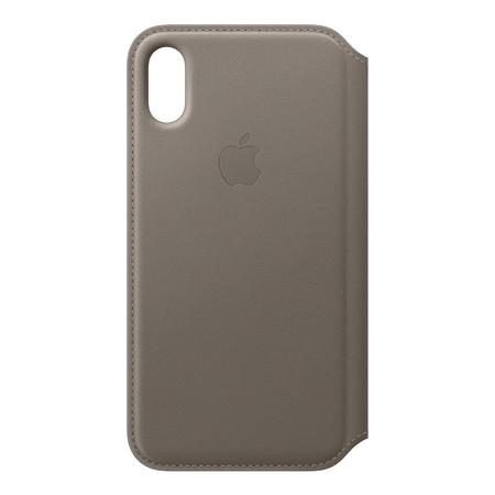 Leather Folio for iPhone X - สีน้ำตาลอมเทา