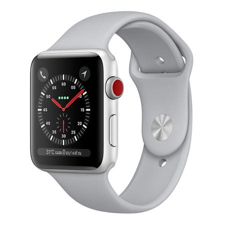 Apple Watch Series 3 (รุ่น GPS + Cellular) ตัวเรือนอะลูมิเนียม สีเงิน พร้อมสายแบบ Sport Band สีเทาหมอก 42 มม.