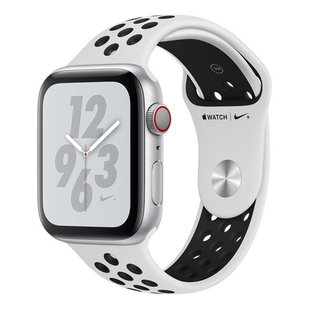 AppleWatch Nike+ Series4 GPS+Cellular, 44mm Silver Aluminium Case with Pure Platinum/Black Nike Sport Band