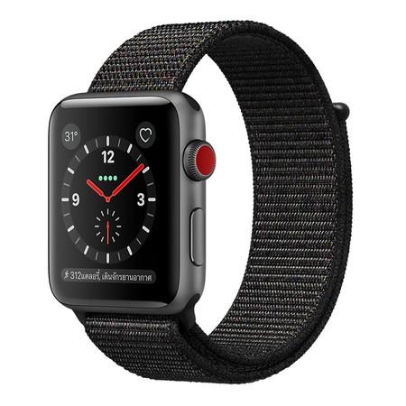 Apple Watch Series 3 (รุ่น GPS + Cellular) ตัวเรือนอะลูมิเนียม สีเทาสเปซเกรย์ พร้อมสายแบบ Sport Loop สีดำ 42 มม.