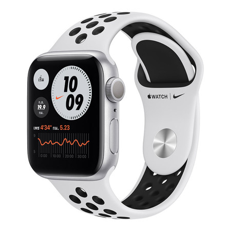 Apple Watch Series 6 GPS Silver Aluminum Case with Nike Sport Band - Pure Platinum/Black